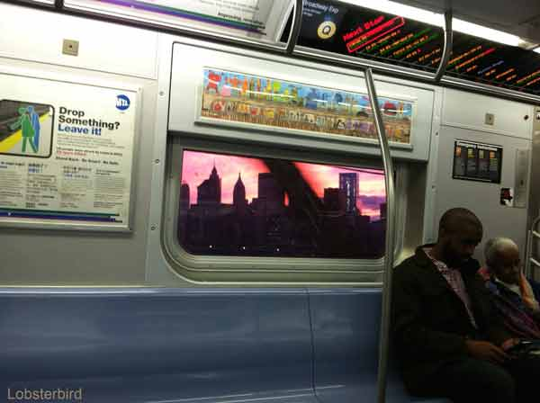 NYC subway sunset